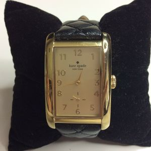 Kate Spade Watch Minute Gold Black Leather Quilted